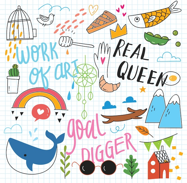 Cute doodle collage background