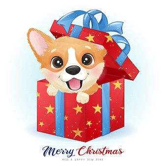 Cute doodle corgi for christmas day with watercolor illustration