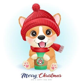 수채화 일러스트와 함께 크리스마스를위한 귀여운 낙서 corgi