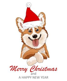 메리 크리스마스를위한 귀여운 낙서 코기. 산타 모자와 함께 재미있는 동물.