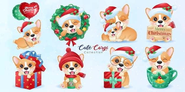 Cute doodle corgi set for christmas day with watercolor illustration