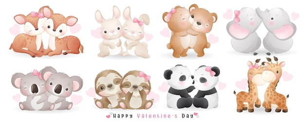 Cute doodle couple animals for valentine's day