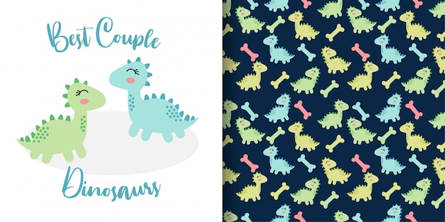 Cute doodle couple  dinosaurs hand drawn with seamless pattern set