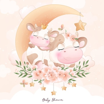Cute doodle cow baby shower with watercolor illustration