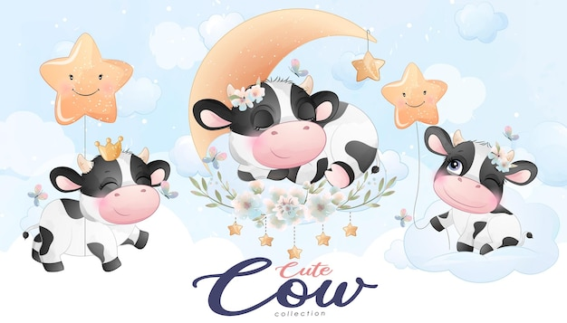 水彩イラストと花のセットでかわいい落書き牛