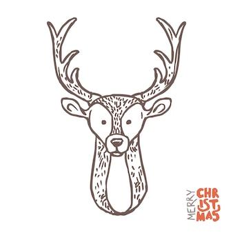 でかわいい落書き鹿。