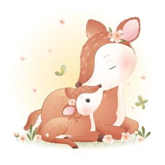 Милый олень каракули с цветочными иллюстрациями