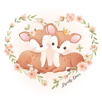Cute doodle deer with floral illustration