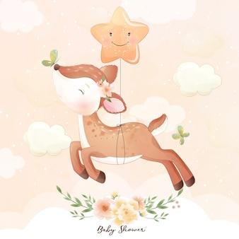 花のイラストとかわいい落書き鹿