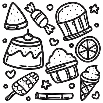 Cute doodle design drawings of bread and ice cream