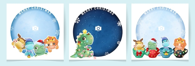 Cute doodle dinosaur for christmas day with photo frame collection