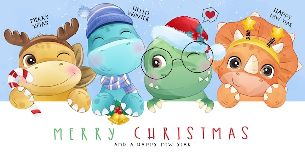 Cute doodle dinosaur for christmas day with watercolor illustration