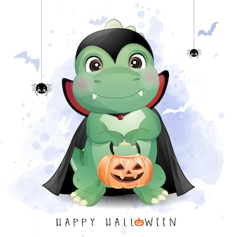 Cute doodle dinosaur for halloween day with watercolor illustration
