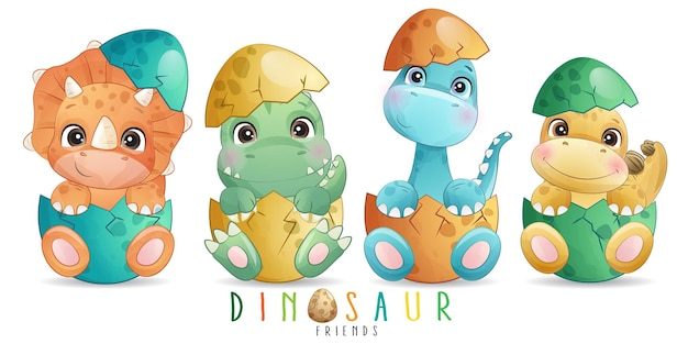 Cute doodle dinosaur with watercolor illustration
