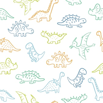 かわいい落書き恐竜。ディノカラフルなシームレスパターン。