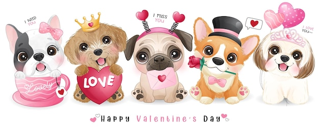 Cute doodle dogs for valentines day collection