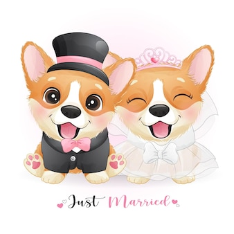 Cute doodle dogs with wedding clothes, just married