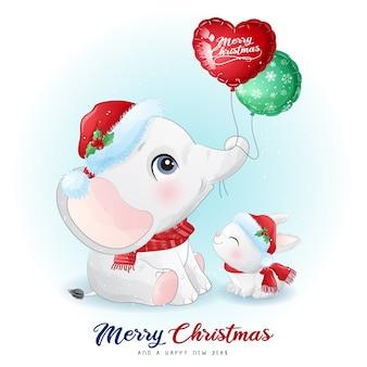 水彩イラストとクリスマスの日のかわいい落書き象とウサギ