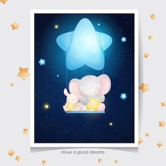 귀여운 낙서 코끼리와 수채화 일러스트와 함께 작은 토끼