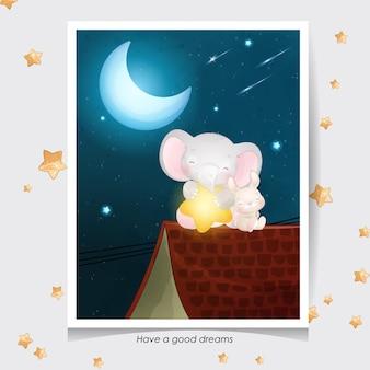 かわいい落書き象と水彩イラストと小さなウサギ