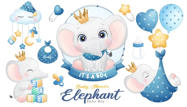 Cute doodle elephant baby shower with watercolor illustration set