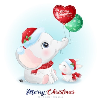 Cute doodle elephant and bunny for christmas day with watercolor illustration