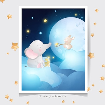 Cute doodle elephant and little bunny with watercolor illustration