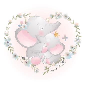 꽃 일러스트와 함께 귀여운 낙서 코끼리