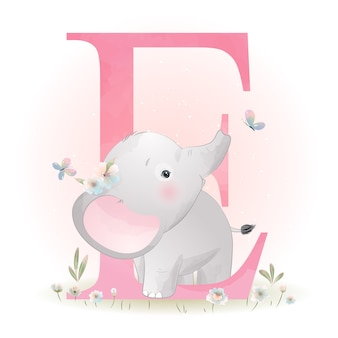 Cute doodle elephant with floral illustration