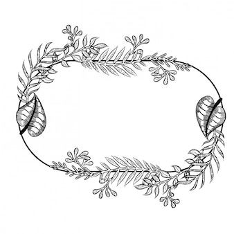 Cute doodle floral wreath frame