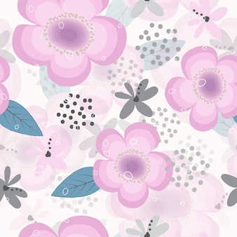Cute doodle flower banner vector