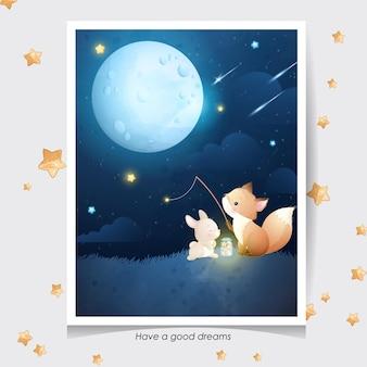 かわいい落書きキツネと水彩イラストと小さなウサギ