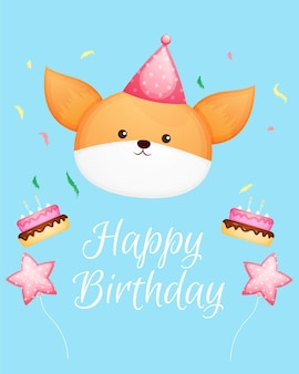 Cute doodle fox head for birthday card