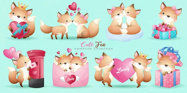 Cute doodle fox with poses collection