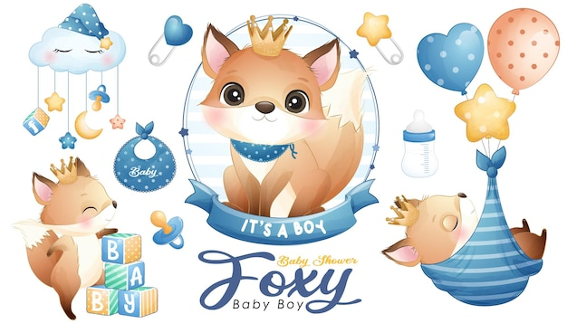 Cute doodle foxy baby shower with watercolor illustration set