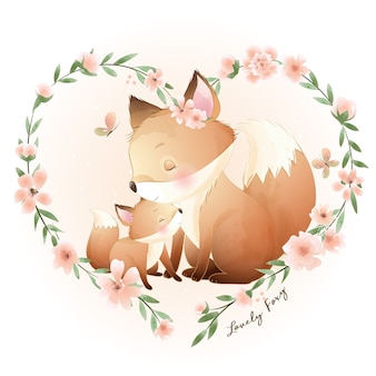 Cute doodle foxy with floral illustration Premium Vector