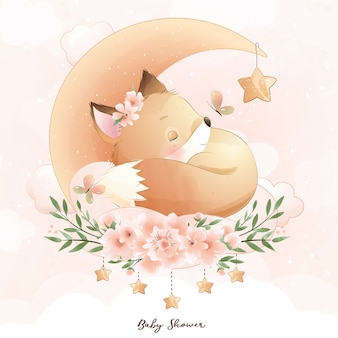 Cute doodle foxy with floral illustration
