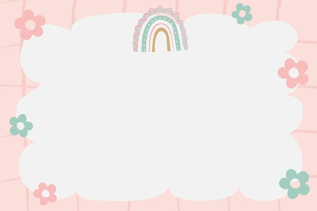 Симпатичная рамка каракули, вектор границы радуги