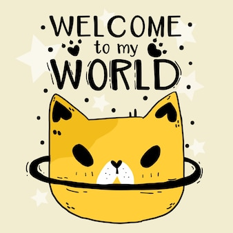 Cute doodle funny cat head star welcome to my world illustration