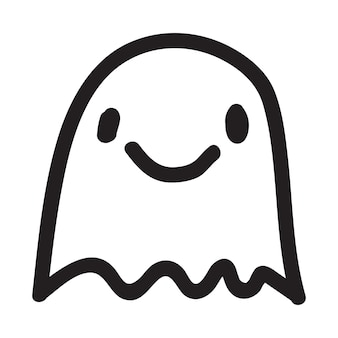 Cute doodle ghost character. happy halloween ghost cartoon vector illustration. party card invitation print, shirt or product print, sticker design