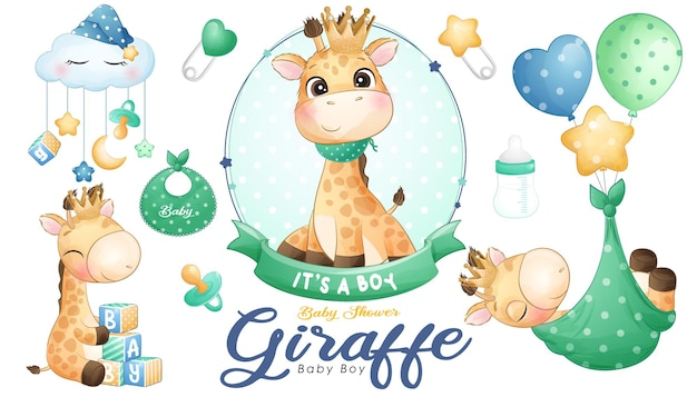 Cute doodle giraffe baby shower with watercolor illustration set