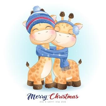 Симпатичный каракули жираф на рождество с акварельной иллюстрацией