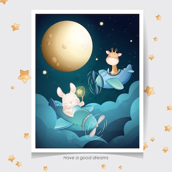 Cute doodle giraffe and little bunny with watercolor illustration