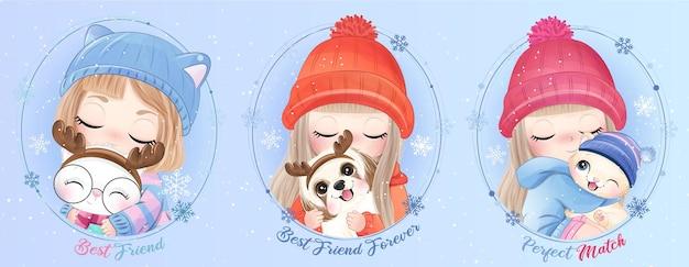 水彩イラストで動物を抱き締めるかわいい落書きの女の子