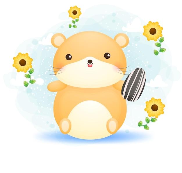 해바라기 씨 만화 캐릭터를 들고 귀여운 낙서 햄스터