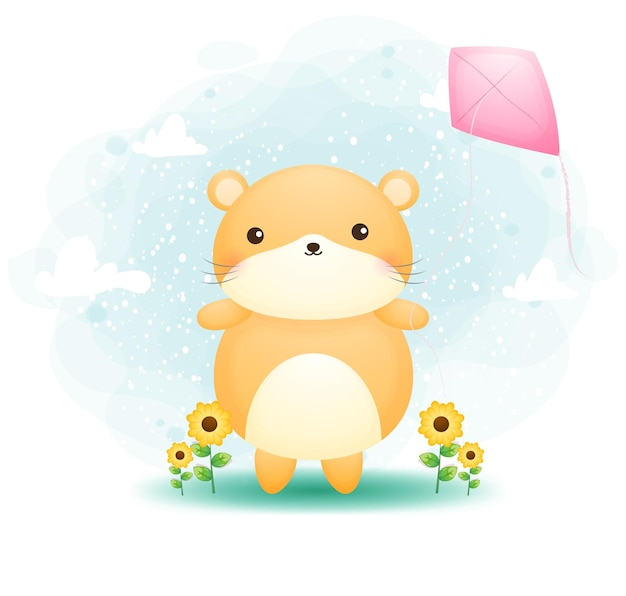 Cute doodle hamster playing kites on the grass cartoon character