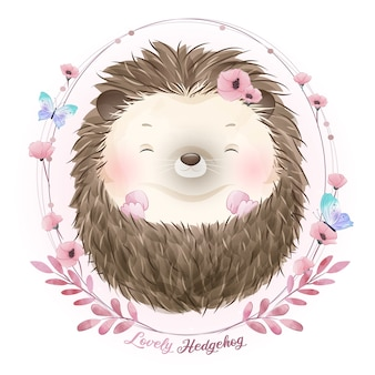 Cute doodle hedgehog with watercolor illustration