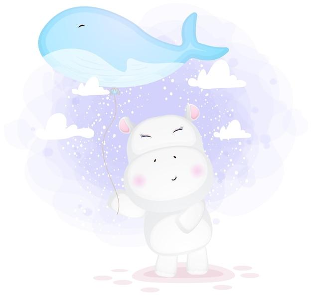 고래 풍선 만화를 들고 귀여운 낙서 하마