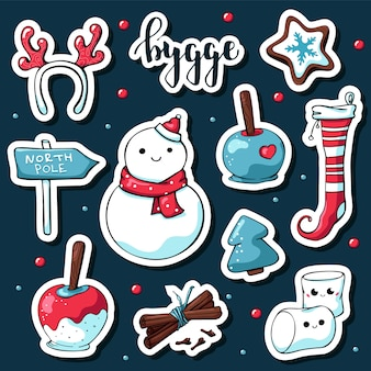 Cute doodle hygge stickers