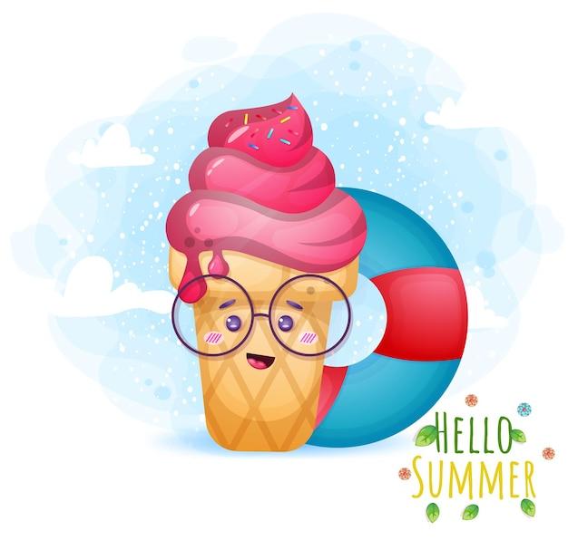 수영 부표와 귀여운 낙서 아이스크림. 안녕하세요 여름 인사말 카드